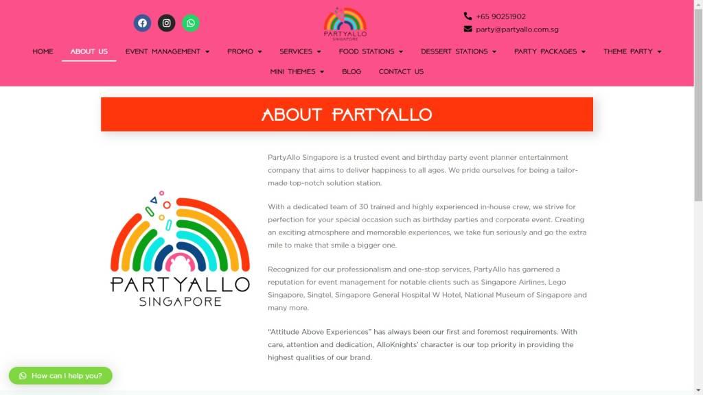 Website Design PartyAllo_1